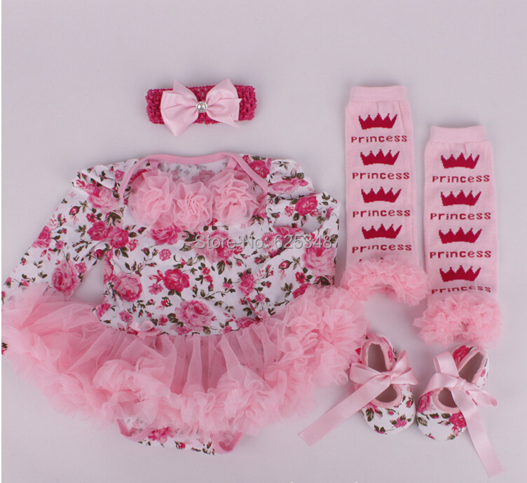 2017 autumn christmas clothes floral newborn baby romper with tutu dress +head band+shoes+leggings 4pcs/set baby clothing set baby girl 1st birthday outfits short sleeve infant clothing sets lace romper dress headband shoe toddler tutu set baby s clothes