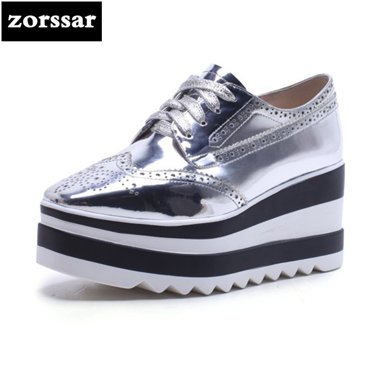 {Zorssar} 2018 NEW Patent leather casual womens Brogue shoes heels Wedges Platform High heels pumps fashion women shoes Silver bling patent leather oxfords 2017 wedges gold silver platform shoes woman casual creepers pink high heels high quality hds59