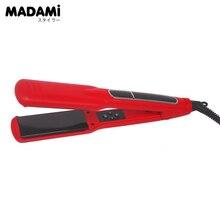 High Quality Professional Hair Salon Flat Iron Titanium Red Hair Straightener Plancha Dual Voltage Euro Plug Straight Iron