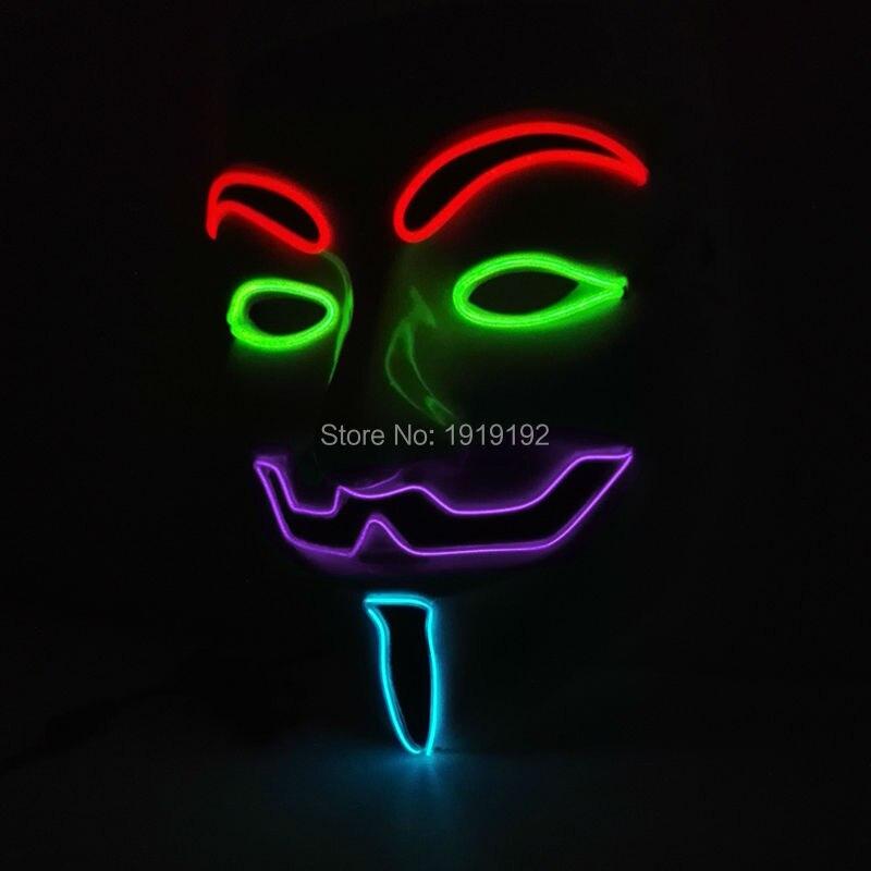 Vroče prodajne zabavne maske EL žica 4-barve Anonymous Guy Fawkes - Prazniki in zabave - Fotografija 4