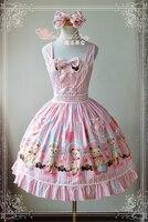 Magic Tea Party Girls Lovely Pink Lolita Dress Balloon Bear Print Daily Dress+Headdress