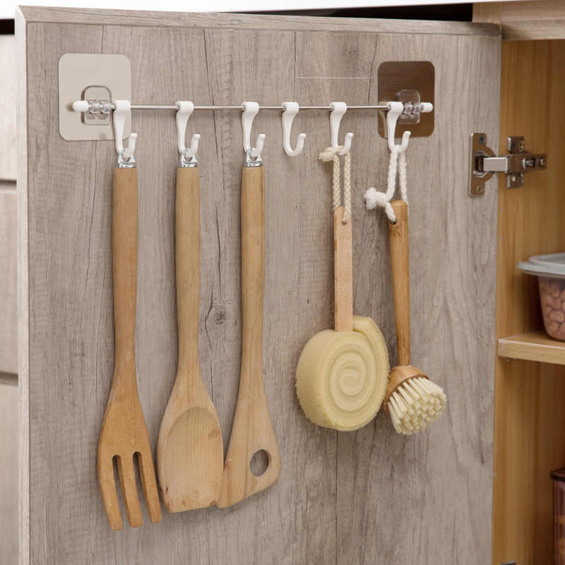 LIYIMENG кухонный 6 крючков держатель для шкафа крючок органайзер для шкафа нагрудные инструменты для ванной вешалка для полотенец шкаф полка для хранения одежды