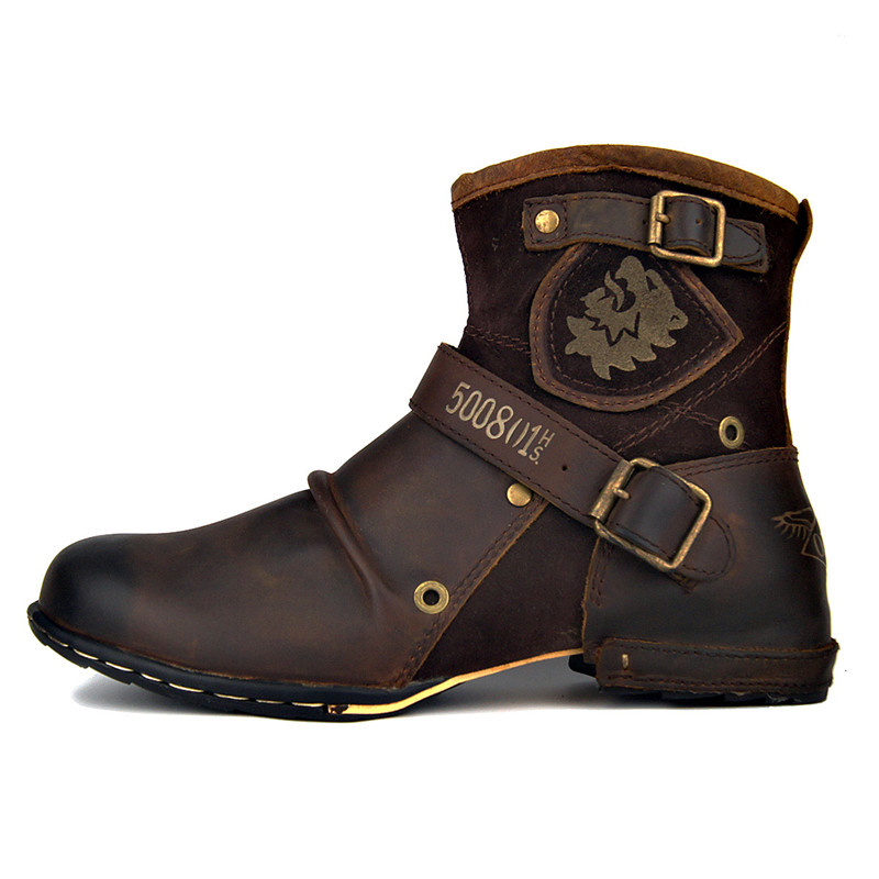 2019 Retro Genuine Leather Buckle Strap Wedge Cowboy Boots Handmade Big Toe Knight Embroidery Cowhide Boots