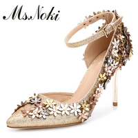 Elegant Flower Women Pumps Fashion Ladies Pointed Toe Thin Heel Sandals Summer Style High Heels Women