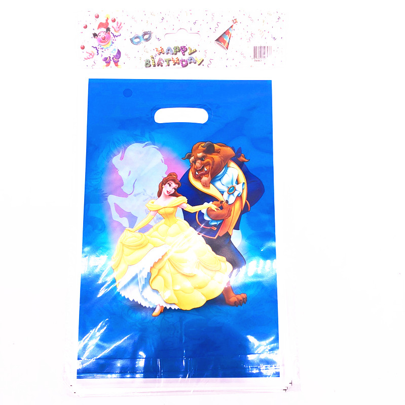 20 Pieces / Batch CARTOON BAG GIFT BAG Disposable Paper Supplies Cartoon Beauty And Beast Theme Gift Packing Bag Birthday Party