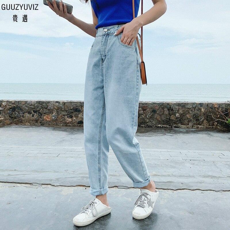 GUUZYUVIZ Boyfriend Jeans For Women Vintage Jeans Woman Casual High Waist Denim Pants Ladies Trousers Kot Pantolon Vaquero Mujer