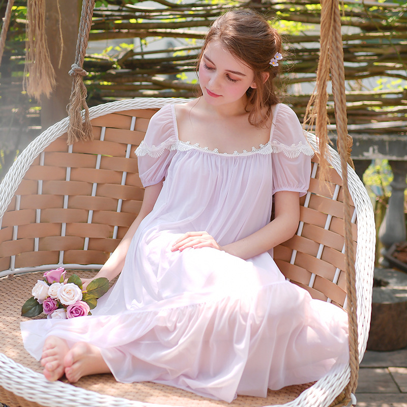 Women's Long Sleeves   Nightgowns   Lace Ancient   Sleepshirts   High-end Palace Sleepwear Sweet and Elegant Princess Dress Home Clothes