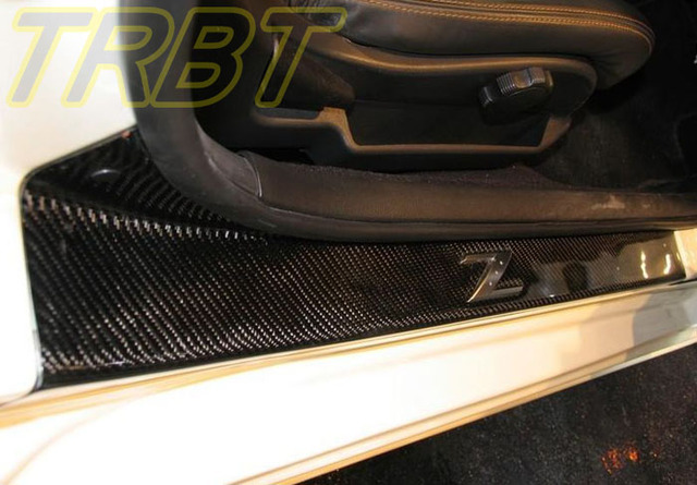 High Quality 350Z Running Boards Z33 Carbon Fiber Door Sill Plate Caps Farylady Nerf  Bars CF Interior Parts