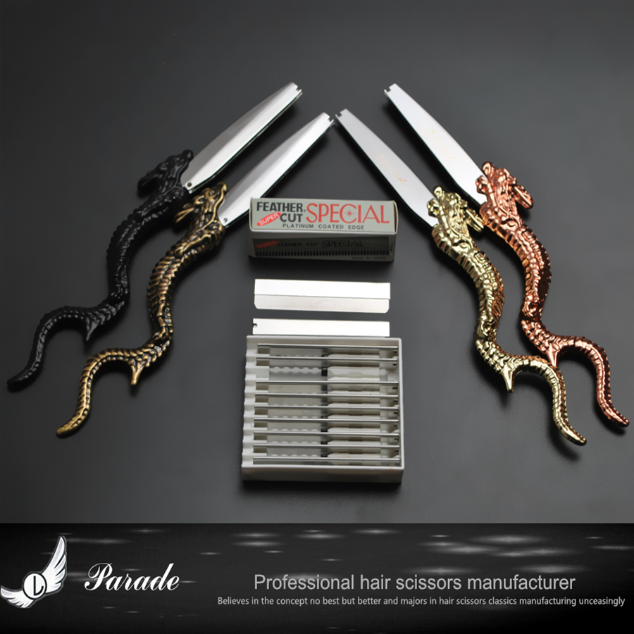 Retro Bronze Dragon Sharp/thin Blade Barber Razor Hairdressing Thinning Shaving Knife Sharp,Beard Apron Gather Cloth Bib Борода