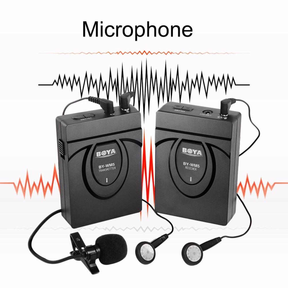 BOYA BY-WM5 Professional Wireless Lavalier Lapel Microphone System For DSLR Camera Camcorders Audio Recorder For Canon professional lapel music instrument microfone double bass microphone lapeal for shure wireless system xlr mini microphones