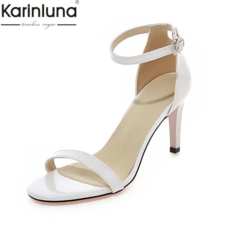 KARINLUNA 2019 Plus Size 33-43 Dropship Thin High Heels Ankle-strap Women's Shoes Woman Concise Date Party Summer Sandals Shoes