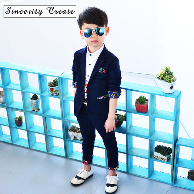 Spring new fashion kids boys suits 3 pieces coat+vest+pant dark blue floral  printed children formal clothing dinner suit KS-1804 629bfc971