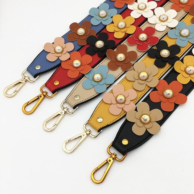 Flower Wide Shoulder Bag Strap Female Handbag Straps You for Bags Accessories Colorful Leather Straps for Handbags Handle Belt