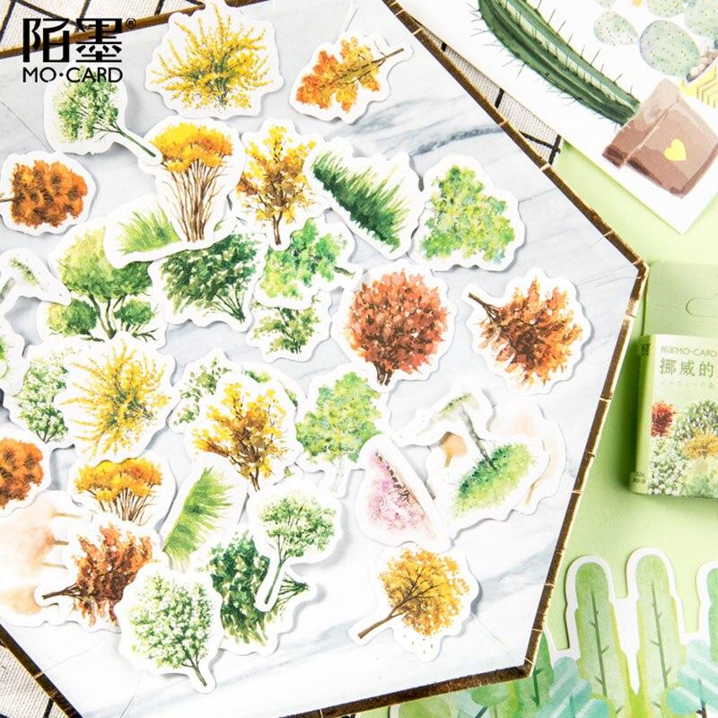 Купить с кэшбэком 45Pcs/box Forest Decoration Paper Sticker DIY Scrapbook Notebook Album Sticker Stationery Kawaii Girl Stickers