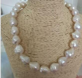 Jewelry 100% Real Natural classic 12-14mm south sea natural white baroque pearl necklace 18inch женское платье 1468 dress 2014