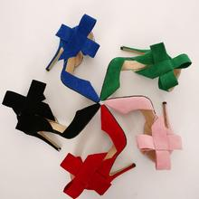 BAYUXSHUO Women Big Bow Tie Pumps Butterfly Pointed Stiletto Shoes Woman High Heels Plus Size Wedding Shoes Bowknot advisable