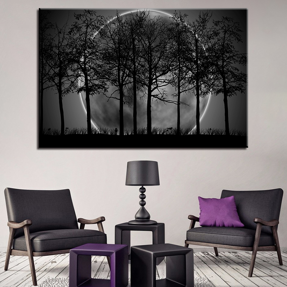 Black White Purple Tree Art Moon Modern Bedroom Wall Art Home Decor Picture