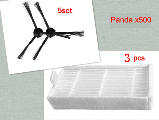 10 pieces(5x Right Side Brush + 5x Left Side Brushes) and 3 pcs Hepa filter for Panda X500 ECOVACS X500 CR120 for x500 b2000 b3000 b2005 left