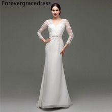 Forevergracedress Vintage Cheap Wedding Dress Mermaid Beaded Sashes Applique Chiffon Long Bridal Gown Plus Size Custom Made