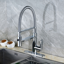 Chrome Finished Deck Mounted Kitchen Sink Faucet Swivel Spout Mixer Tap with Cover Plate