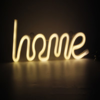 Novelty HOME LOVE Letter Shaped Neon Night Light Warm White Marquee Sign LED Wall Hanging For