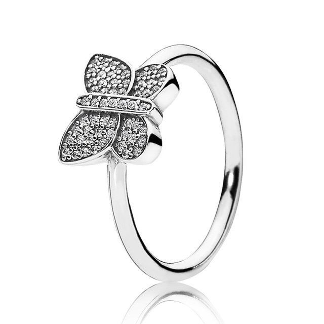 30 Silver Rings For Women Sparkling Butterfly Ring Girl Birthday Gift Finger Anel Pave Clear CZ Fit Lady Jewelry