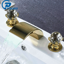 Gold 3PCS Basin Faucet LED Waterfall Spout Nickel Bathroom Faucets Deck Mounted Dual Handle three Holes Mixer tap Crystal Handle deck mounted waterfall spout square oil rubbed bronze red basin bathroom mixer tap three holes dual handles faucet mixer