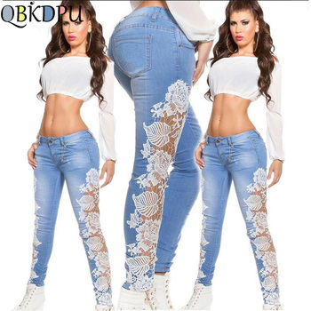 Women sexy Low waist summer pencil jeans ladies fashion casual lace floral patchwork hollow out skinny long denim pants Trousers white floral lace patchwork denim jeans