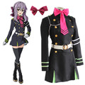 Hiiragi Shinoa cosplay costumes uniform dress Seraph of the end animation clothing Dress+Tie+Belt+Strap+hair accessory