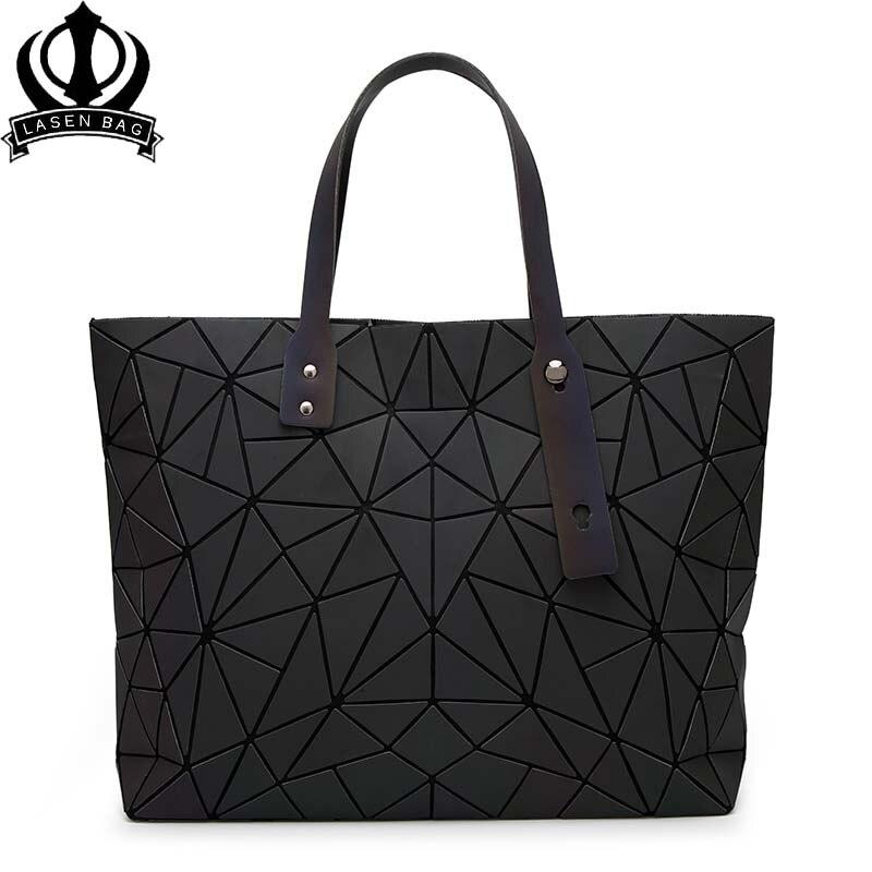 Drop Shipping 2018 Women Bucket Bag Geometry Sequins Mirror Saser Plain Folding Shoulder Bags Luminous PU Tote Bao Handbags 7*8 drop shoulder crew neck plain sweatshirt