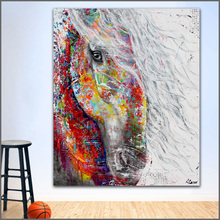 hot deal buy wall art painting modern colorful animal  oil painting on canvas vivid colors abstract animal colors horse no frame wlong