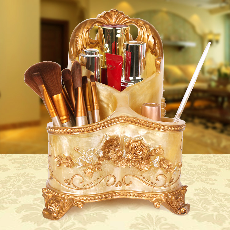 Luxury Cosmetic Lipstick Holder Ecological Resin Makeup Tools Storage Box Fashion Gift for Grilsdesk display desktop storage box