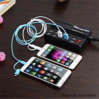 10 Port USB Şarj Istasyonu Ile ABD/AB Tak Çok kullanımlı Samsung için Şarj İstasyonu S5 S6 Not 4 iPhone 7 5 S 6 Için LG G3 G2