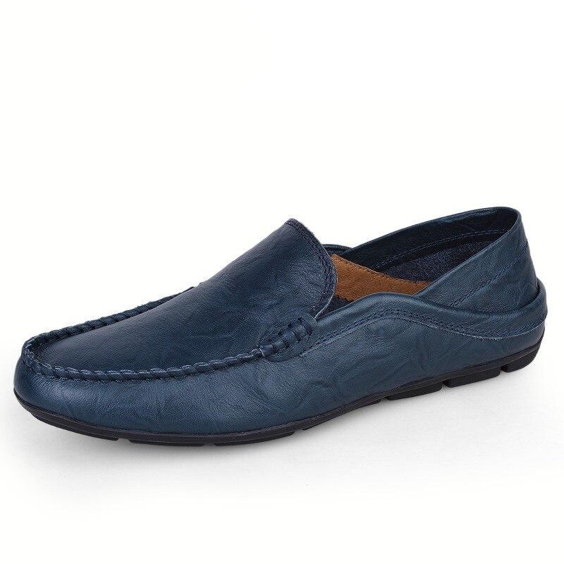 Mode bleu Xz Automne Taille Cuir Marque Véritable Grande En jaune Mens Marche Hommes Mocassins Printemps Noir Appartements De Chaussures 046 gIwSAUx