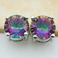 New Arrival Rose Rainbow Simulated Topaz  Women Stud Earrings 925 Sterling Silver Stud Earrings ATEE28