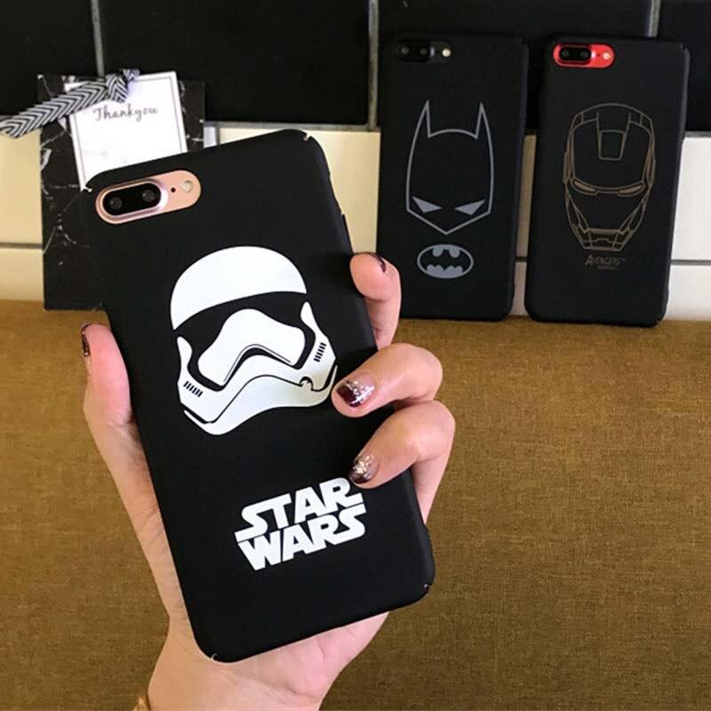 vingadores-marvel-superhero-preto-fosco-caso-para-coque-iphone-6-6-s-7-8-alem-de-font-b-starwars-b-font-storm-trooper-cavaleiro-batman-supre-homem-cover