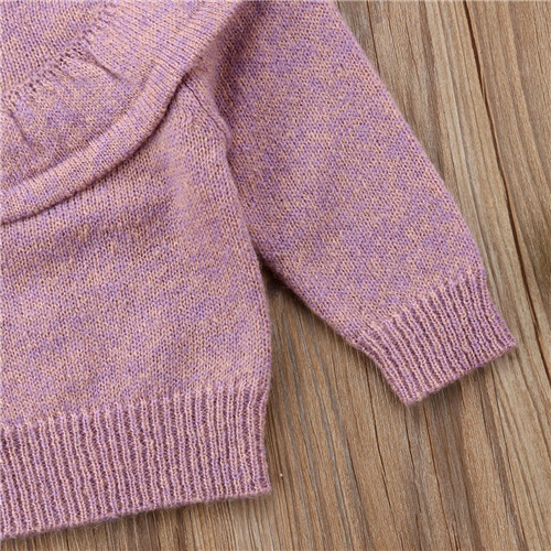 Lilax Little Girls Sweater Long Sleeve Ruffle Knit Pullover
