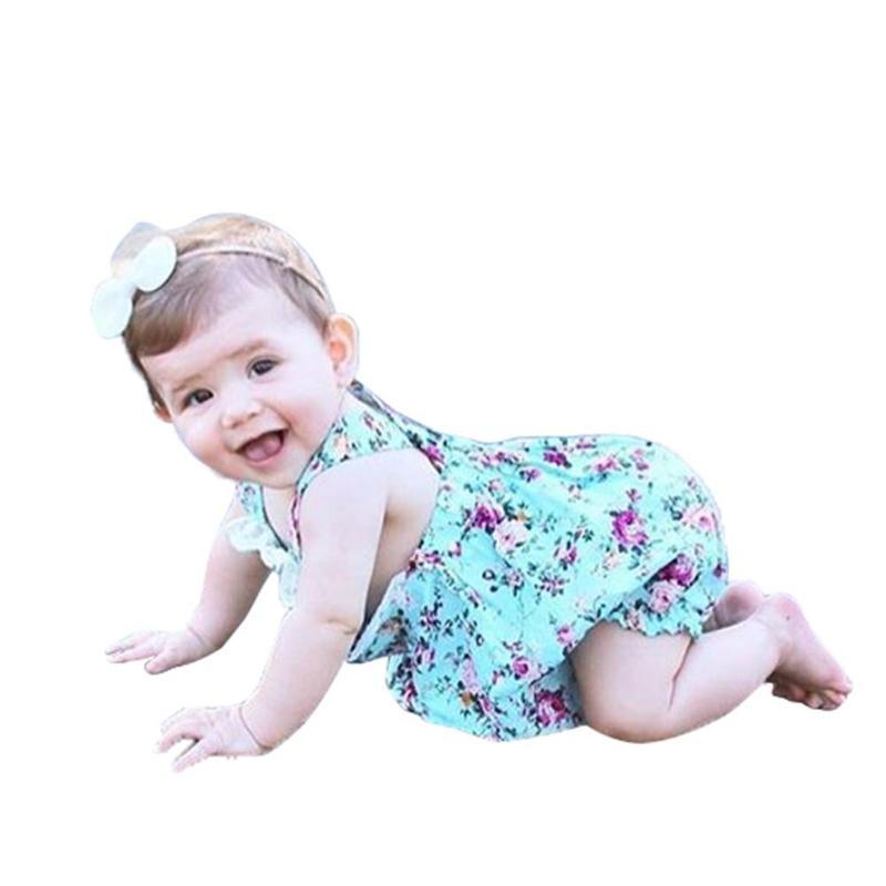 Meninas Do Bebê Roupas de verão Manga Plissado Floral Impressão Elástico Na Cintura Cinta Macacão Bodysuit