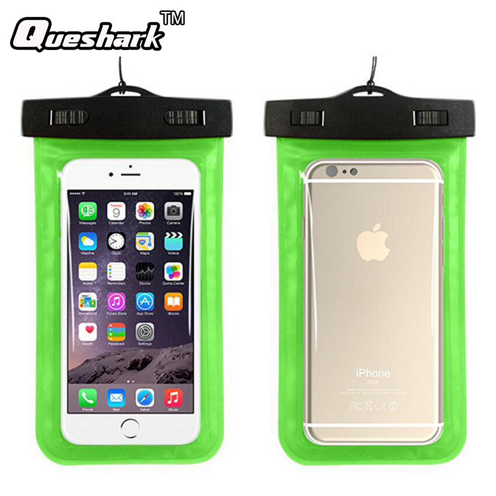 Queshark 5.5 inch PVC Waterproof Phone Bag Diving Surfing Swimming Bag For Mobile Phones Underwater Phone Pouch Case