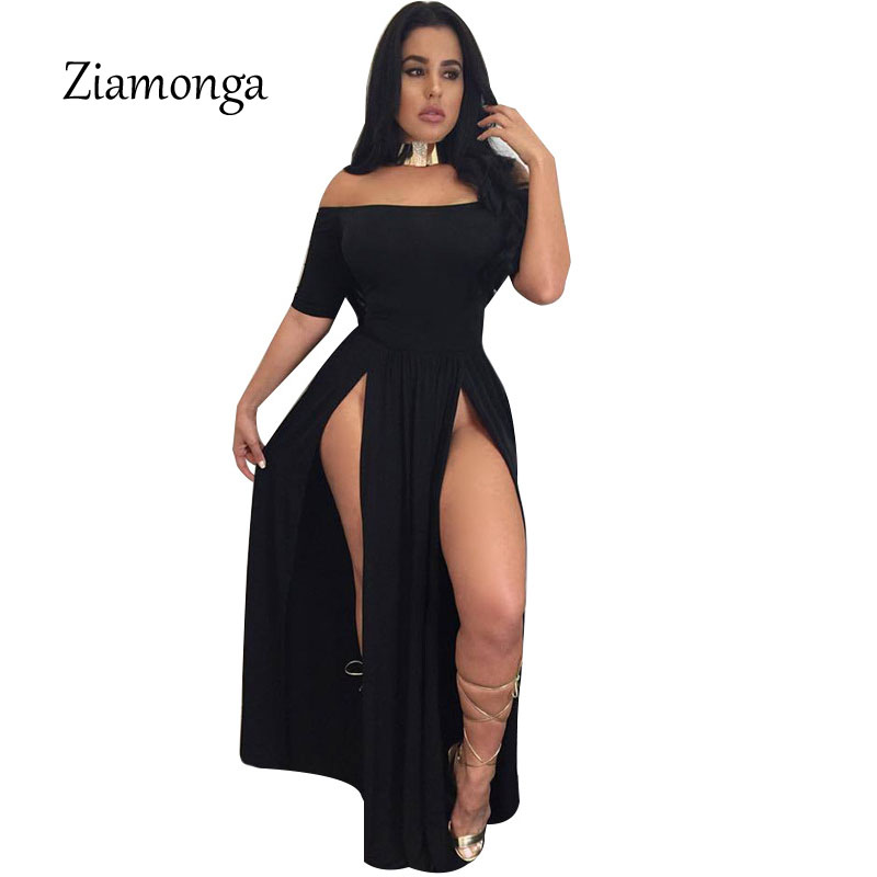 Ziamonga Women Long Dress Sexy Club High Split Dress Short Sleeve Black Double  High Slit Maxi Party Dress Vestido De Festa