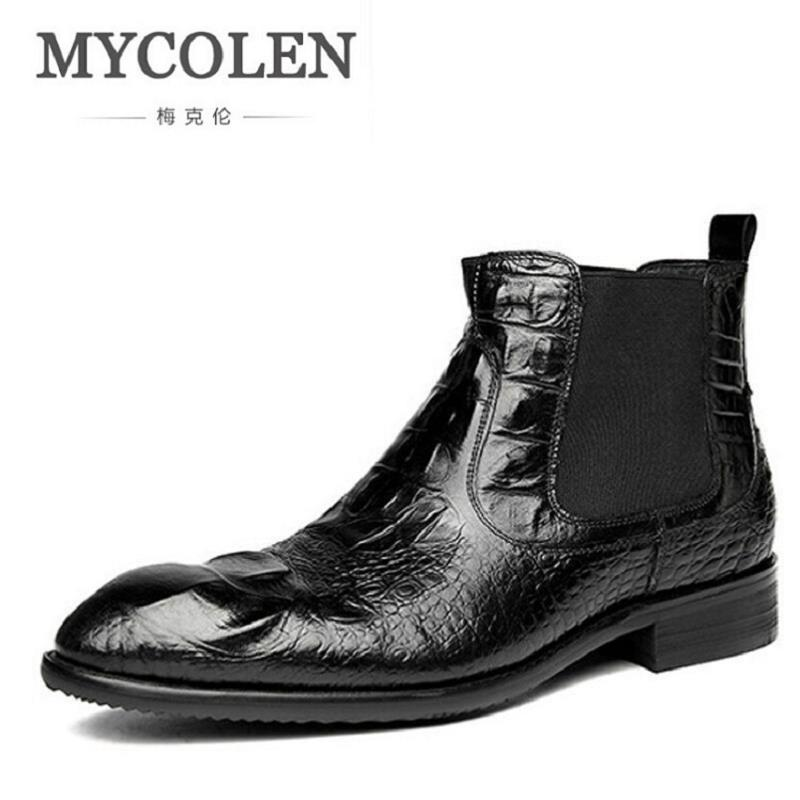 MYCOLEN Brand Luxury Fashion Mens Ankle Boots Black Dress Boots Comfort Leather Handmade Crocodile Men Shoes For WeddingMYCOLEN Brand Luxury Fashion Mens Ankle Boots Black Dress Boots Comfort Leather Handmade Crocodile Men Shoes For Wedding