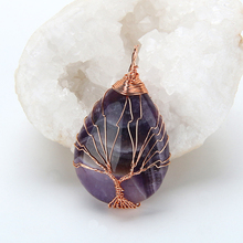 Natural Quartz Stone Pendants Handmade Tree of Life Wrapped Drop Shaped crystal pendant necklace