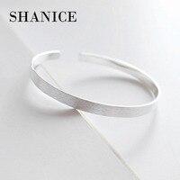 SHANICE Authentic 925 Sterling Silver Bangle Bracelet Charm Simple 5mm Mirror Open Bangles Pave CZ Stoppers Bracelets Women J