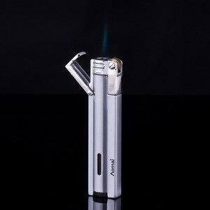 Image 4 - Compact Jet Lighter Gas Torch Turbo Flint Lighter Strip Windproof Metal Cigar Lighter 1300 C Butane Lighter Gadgets For Man