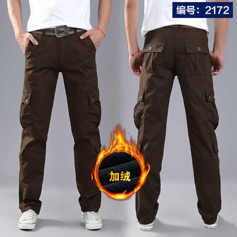 825d42f1 ... Men Winter Thick Fleece Thermal Multi-pocket Overalls Pants Outdoor  Sports Training Hiking Climbing Warm ...