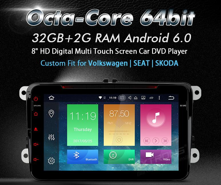XTRONS 2 Din 8&#8221; Android 6.0 Octa Core Car DVD Player GPS Radio for vw <font><b>Golf</b></font> Plus Passat CC Touran Vento Seat Teledo Skoda Yeti
