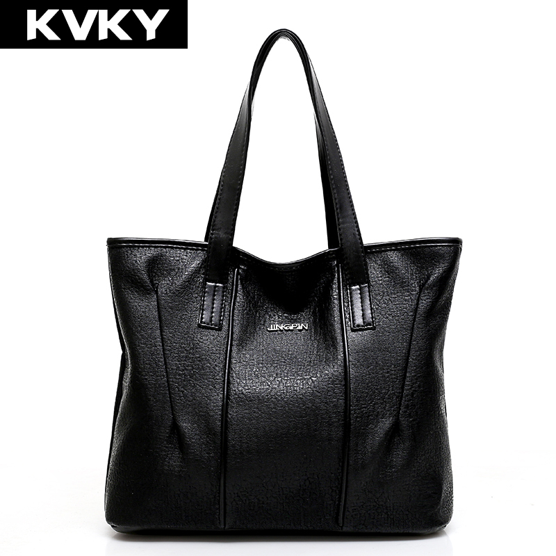 KVKY Women Handbags High Quality Soft PU Leather Women Bag Fashion Hobos Big Shoulder Bags Solid Large Capacity Tote Bags bolsas high quality travel canvas women handbag casual large capacity hobos bag hot sell female totes bolsas ruched solid shoulder bag