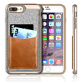 For iPhone 7 plus Case, Design with Genuine Leather Pocket[Card Case]Soft TPU + PC Fabric Textured cover for iPhone 7 plus 5.5