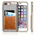 Para o caso do iphone 7 plus, com design de bolso de couro genuíno [caso do cartão] macio tpu + pc capa para iphone 7 plus 5.5 tecido texturizado