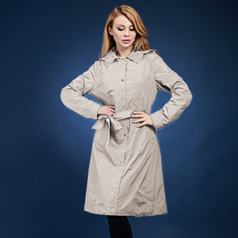 women   trench   coat spring and autumn double layer design print long casual   trench   coats Europe and Russia plus size 48-58 V551